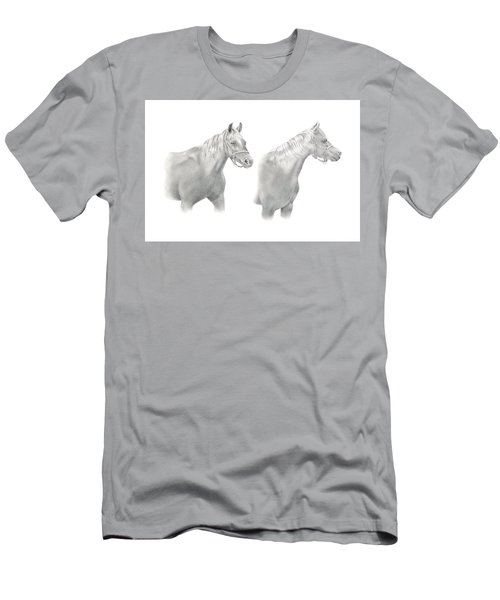 Men's T-Shirt (Athletic Fit) featuring the drawing Two Horse Study by Elizabeth Lock
