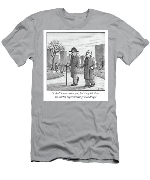 Two Older Men Walk With Canes Through A Park. Men's T-Shirt (Athletic Fit)