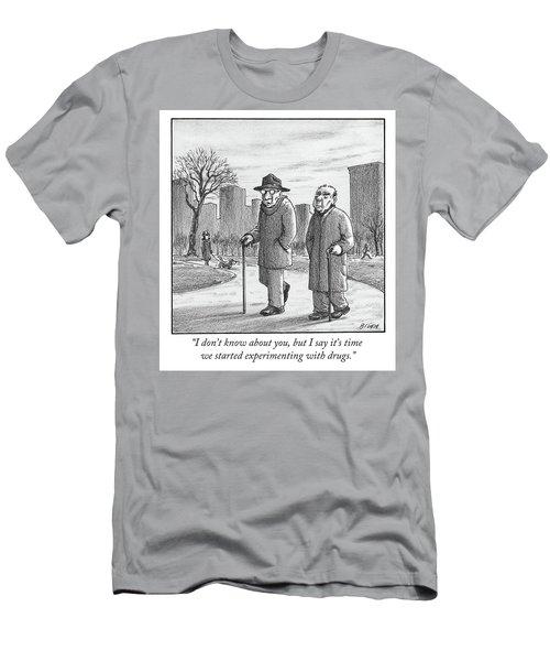Two Older Men Walk With Canes Through A Park. Men's T-Shirt (Athletic Fit)