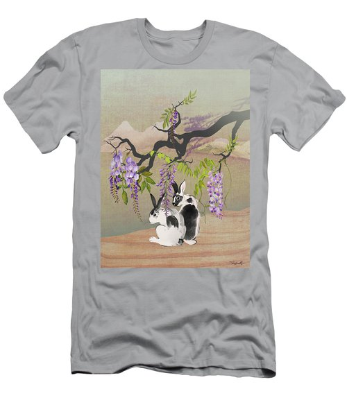 Two Rabbits Under Wisteria Tree Men's T-Shirt (Athletic Fit)