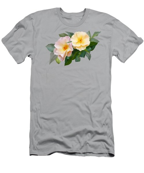 Men's T-Shirt (Athletic Fit) featuring the painting Two Wild Roses by Ivana Westin
