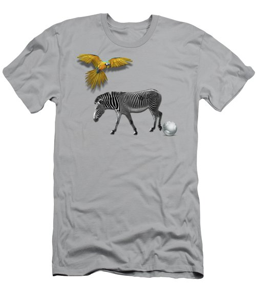 Two Zebras And Macaw Men's T-Shirt (Slim Fit) by iMia dEsigN