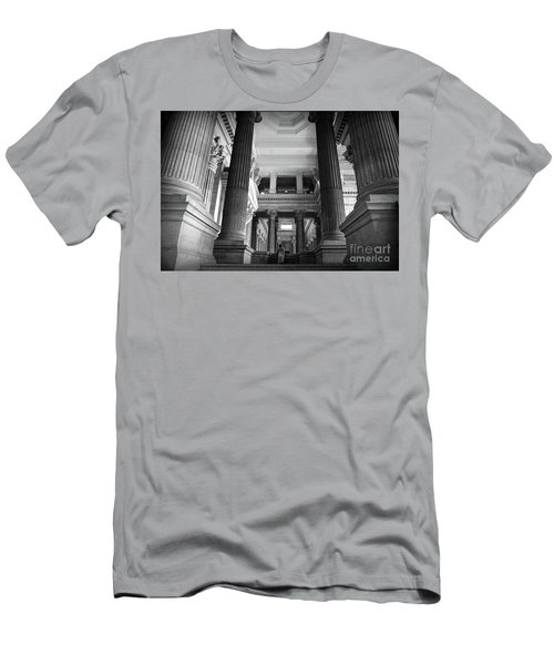 Men's T-Shirt (Slim Fit) featuring the photograph Under The Scaffolding Of The Palace Of Justice - Brussels by RicardMN Photography