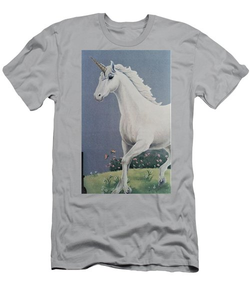 Unicorn Roaming The Grass And Flowers Men's T-Shirt (Athletic Fit)