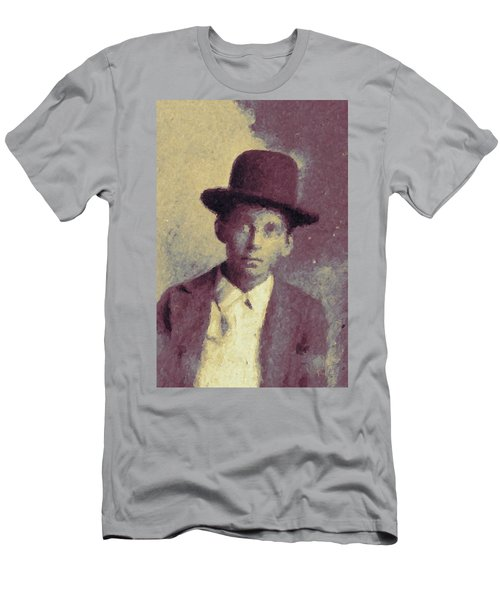 Men's T-Shirt (Slim Fit) featuring the digital art Unknown Boy In A Bowler Hat by Matt Lindley