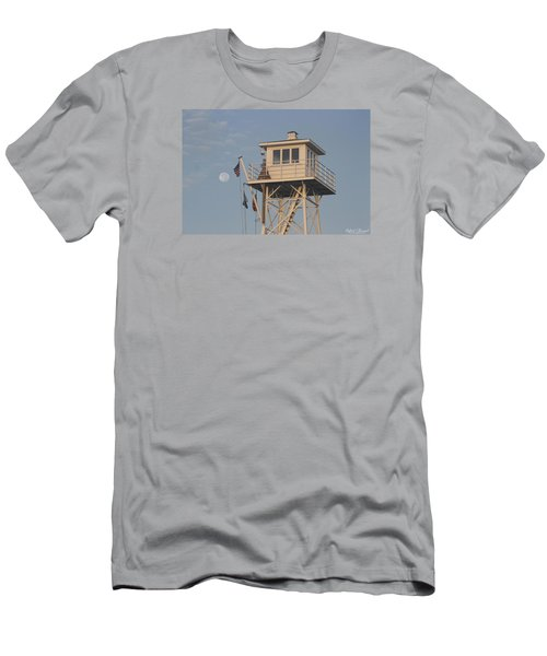 Men's T-Shirt (Slim Fit) featuring the photograph Us Flag Waves At The Full Moon by Robert Banach