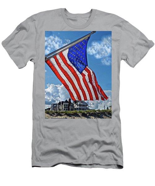 Us Flag,ocean Grove,nj Flag Men's T-Shirt (Slim Fit) by Joan Reese