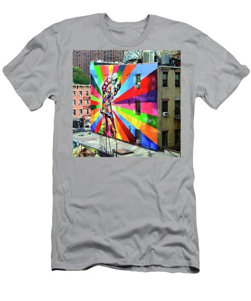 V - J Day Mural By Eduardo Kobra # 2 Men's T-Shirt (Athletic Fit)