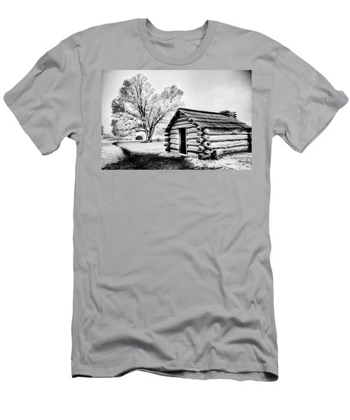Men's T-Shirt (Slim Fit) featuring the photograph Valley Forge Winter Troops Hut                           by Paul W Faust - Impressions of Light