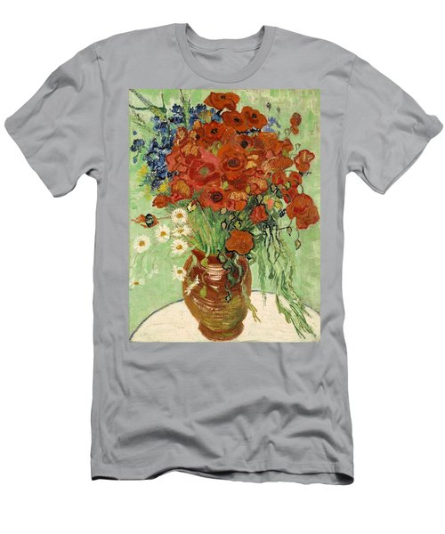 Men's T-Shirt (Athletic Fit) featuring the painting Vase With Daisies And Poppies by Van Gogh