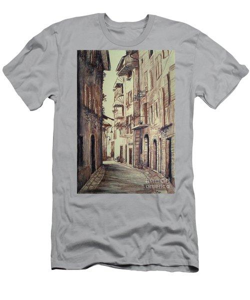 Men's T-Shirt (Slim Fit) featuring the drawing Verona Drawing Of A Narrow Street by Maja Sokolowska