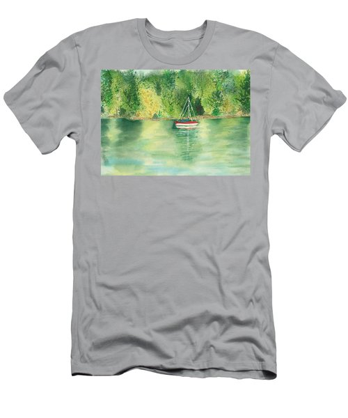 Men's T-Shirt (Slim Fit) featuring the painting View From Millbay Ferry by Vicki  Housel