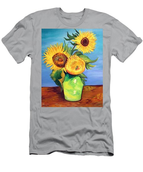 Men's T-Shirt (Slim Fit) featuring the painting Vincent's Sunflowers by Patricia Piffath