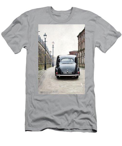 Vintage Car On A Cobbled Street Men's T-Shirt (Slim Fit) by Lee Avison