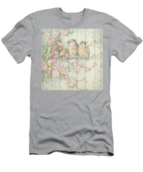 Vintage Shabby Chic Floral Faded Birds Design Men's T-Shirt (Athletic Fit)