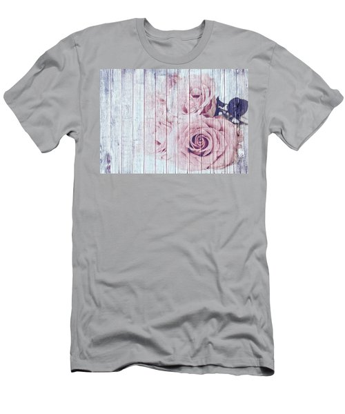Vintage Shabby Chic Dusky Pink Roses On Blue Wood Effect Background Men's T-Shirt (Athletic Fit)