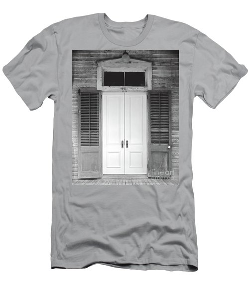 Men's T-Shirt (Slim Fit) featuring the photograph Vintage Tropical Weathered Key West Florida Doorway by John Stephens
