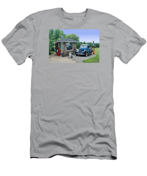 Men's T-Shirt (Slim Fit) featuring the photograph Vintage Truck And Filling Station by Judy  Johnson