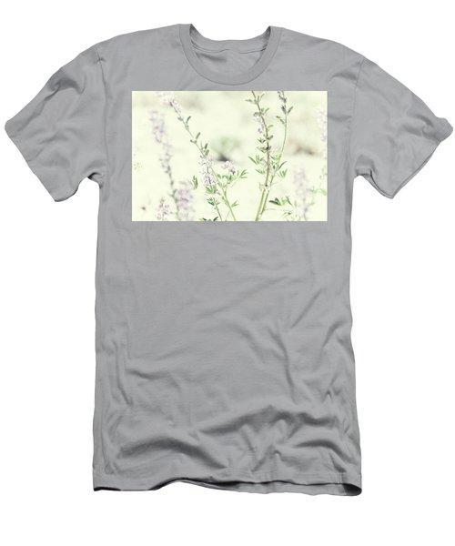 Violet And Green Bloom Men's T-Shirt (Slim Fit) by Amyn Nasser