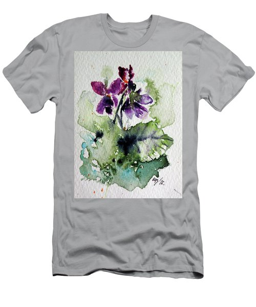 Men's T-Shirt (Slim Fit) featuring the painting Violet Iv by Kovacs Anna Brigitta