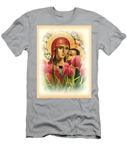Virgin Mary And Tulips      Men's T-Shirt (Slim Fit) by Sarah Loft