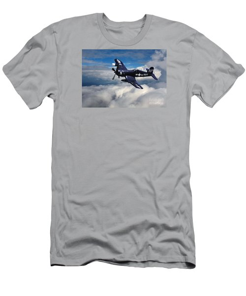 Vought F4u Corsair In Flight Men's T-Shirt (Slim Fit) by Wernher Krutein