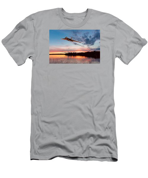 Vulcan Low Over A Sunset Lake Men's T-Shirt (Slim Fit) by Gary Eason