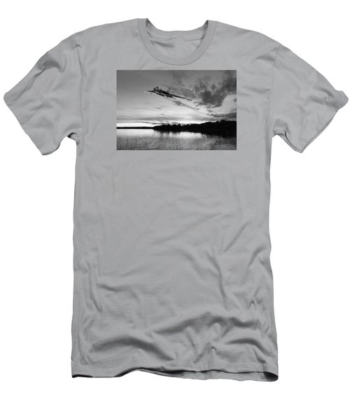 Men's T-Shirt (Slim Fit) featuring the digital art Vulcan Low Over A Sunset Lake Sunset Lake Bw by Gary Eason