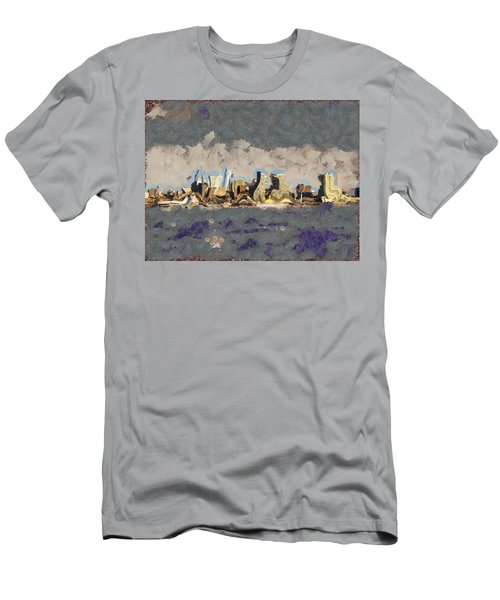 Men's T-Shirt (Slim Fit) featuring the mixed media Wacky Philly Skyline by Trish Tritz