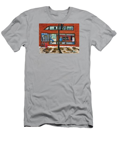 Waiting At The Metro Men's T-Shirt (Slim Fit) by Reb Frost