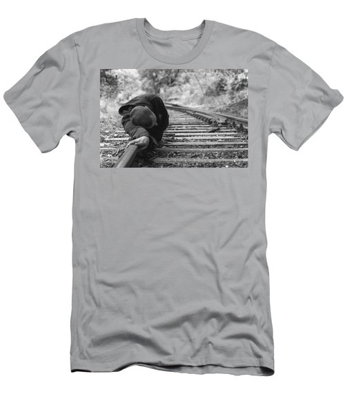 Waiting On The Rails Men's T-Shirt (Athletic Fit)