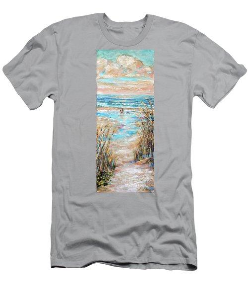 Walking The Dog IIi Men's T-Shirt (Slim Fit) by Linda Olsen
