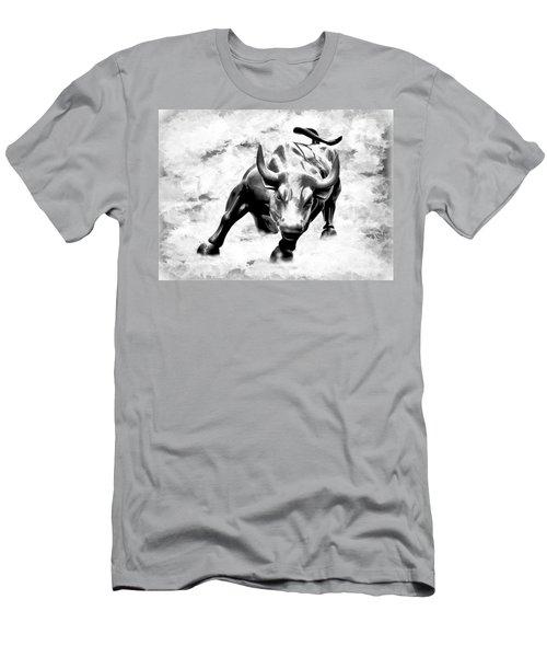 Wall Street Bull Bw Men's T-Shirt (Athletic Fit)