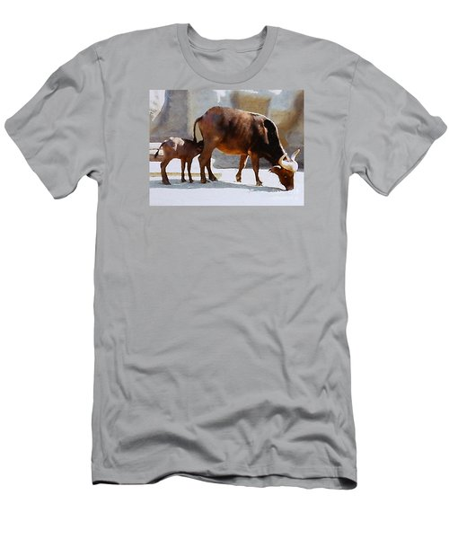 Men's T-Shirt (Slim Fit) featuring the photograph Water Buffalo And Feeding Calf by Merton Allen