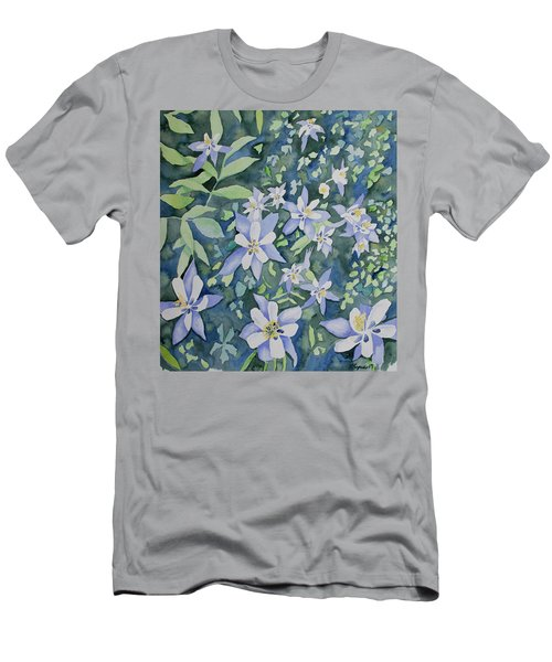 Watercolor - Blue Columbine Wildflowers Men's T-Shirt (Athletic Fit)