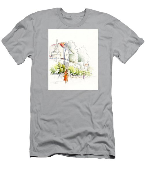 Watercolor Painting Of Monk Men's T-Shirt (Athletic Fit)