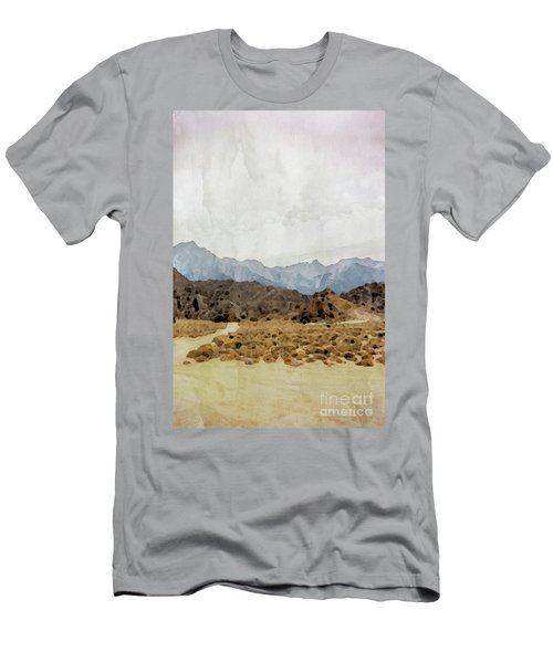 Watercolor Painting Rocks, Mountains And Sky At Alabama Hills,  Men's T-Shirt (Athletic Fit)