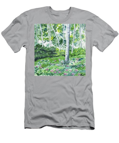 Watercolor - Spring Forest And Flowers Men's T-Shirt (Athletic Fit)