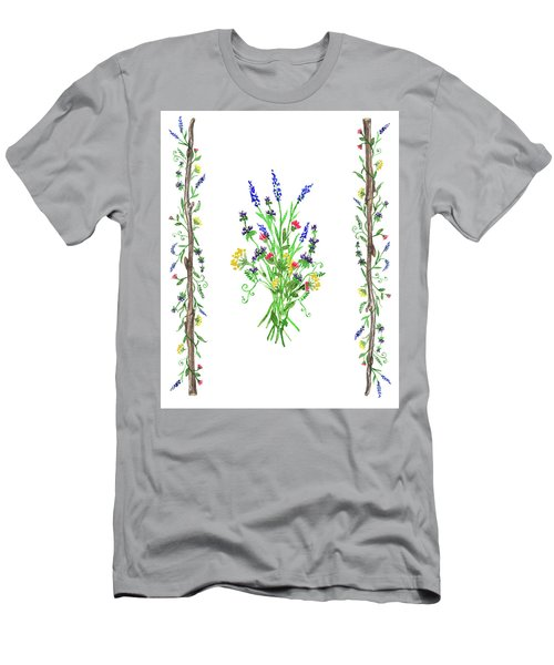 Men's T-Shirt (Athletic Fit) featuring the painting Watercolor Wild Flowers by Irina Sztukowski