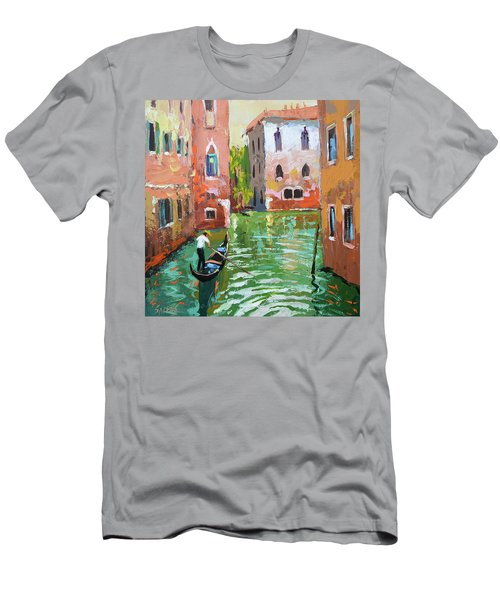Wave Under The Oars Of The Gondola, City Scene. Men's T-Shirt (Athletic Fit)