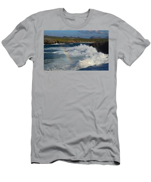 Waves And Rainbow At Clogher Men's T-Shirt (Slim Fit) by Barbara Walsh