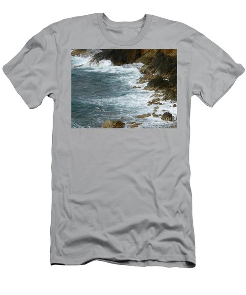 Waves Lashing Rocks Men's T-Shirt (Athletic Fit)