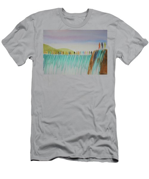 Men's T-Shirt (Slim Fit) featuring the painting We Are All The Same 1.1 by Tim Mullaney