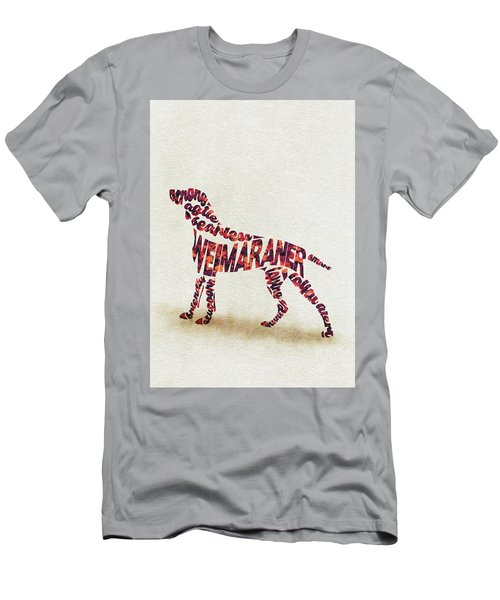 Men's T-Shirt (Athletic Fit) featuring the painting Weimaraner Watercolor Painting / Typographic Art by Inspirowl Design