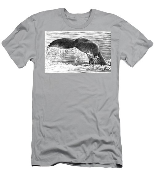 Men's T-Shirt (Slim Fit) featuring the drawing Whale Tail by Heidi Kriel