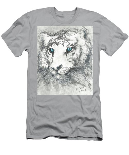 White Bengal Tiger Men's T-Shirt (Slim Fit) by Denise Fulmer