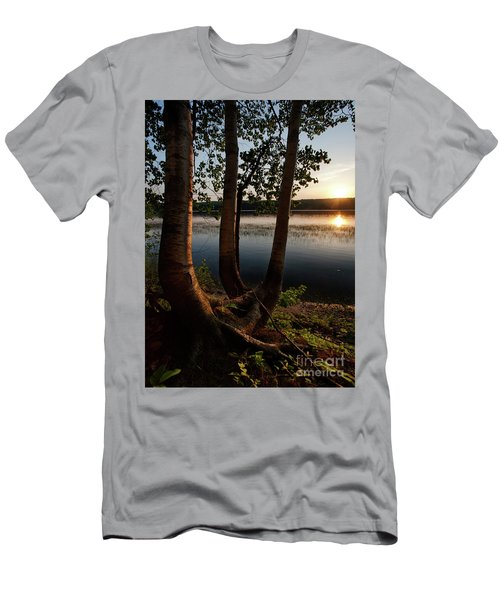 White Birch And Kennebec River At Sunset, South Gardiner, Maine  Men's T-Shirt (Athletic Fit)