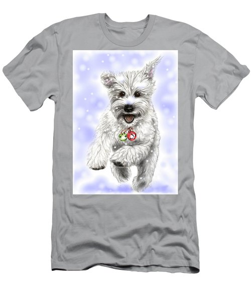 White Christmas Doggy Men's T-Shirt (Slim Fit) by Heidi Kriel