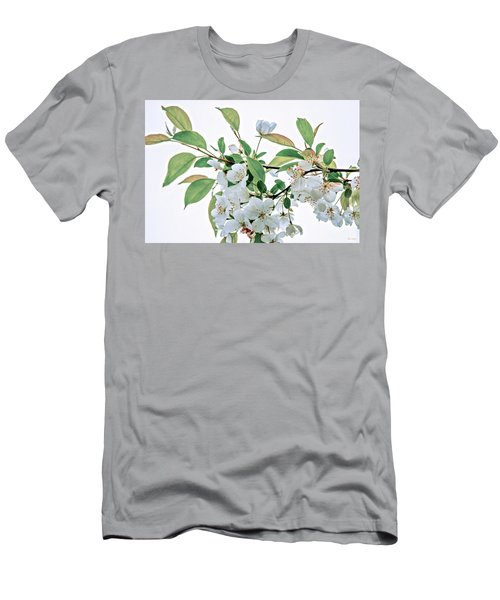Men's T-Shirt (Slim Fit) featuring the photograph White Crabapple Blossoms by Skip Tribby