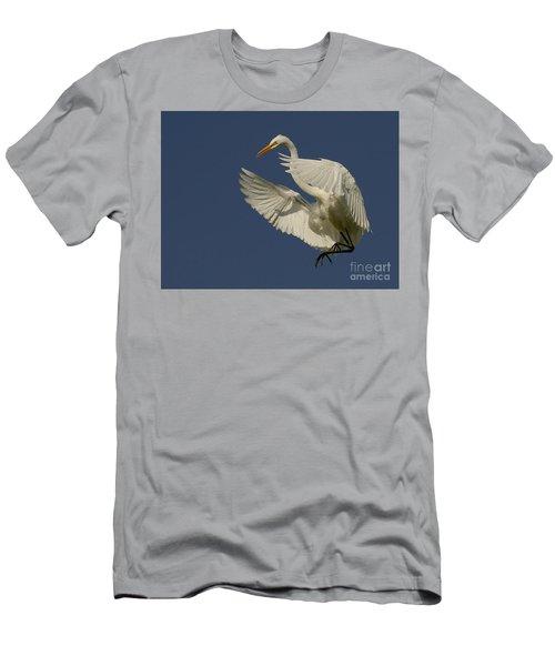 White Egret Flight Men's T-Shirt (Slim Fit) by Myrna Bradshaw